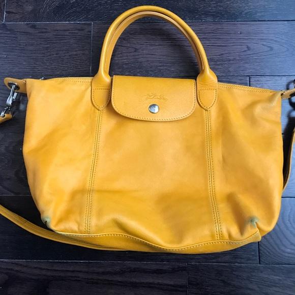 """Longchamp """"Le Pliage Cuir"""" Leather Top Handle S"""
